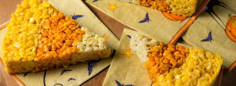 Candy corn-shaped -- and flavored -- crisped rice treats, made with cannabutter. (Bruce Wolf, The Cannabist)